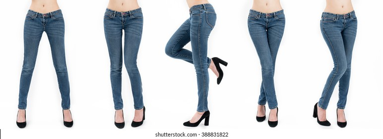 Collection of asian women's jeans in different poses isolated on white background.