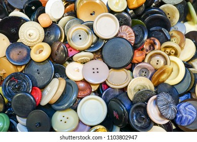 A collection of an assortment of colorful buttons