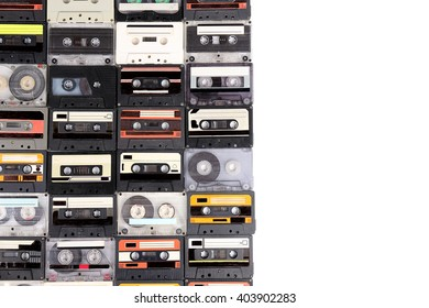 Collection of audio cassettes isolated on white