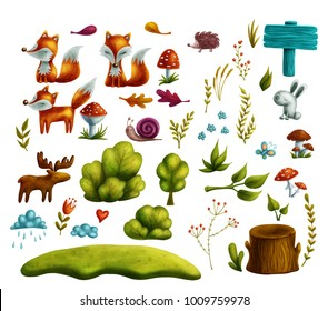Collection with autumn forest clip art. Digital illustration.