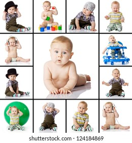 collection baby photos on a white background