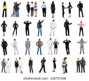 "collection ""Back view of  business people"". Rear view people collection. backside view of person. Isolated over white background. couples, teams, and people engaged in office work alone"