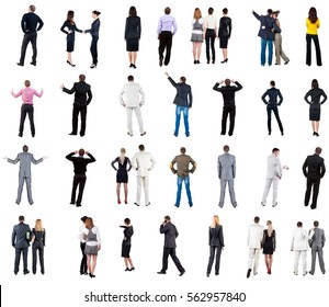 """collection """"Back view of  business people"""". Rear view people collection. backside view of person. Isolated over white background. couples, teams, and people engaged in office work alone"""