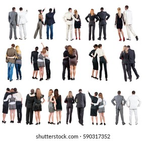 """collection """" Back view of  business team """". young couple rear view. Rear view people set.   backside view of person.  Isolated over white background."""