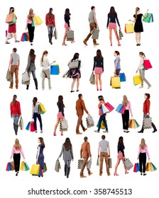 "collection "" back view of going people with shopping bags "" .  backside view of shopping woman and man.  Rear view people collection. Isolated over white background."