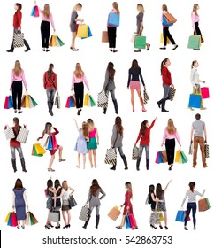 """collection """" back view of going people with shopping bags """" .  backside view of shopping woman and man.  Rear view people collection. Isolated over white background."""