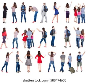 """collection """" back view of people """". backside view of person.  Rear view people collection. Isolated over white background."""