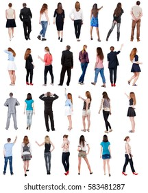 """Collection """" Back view people """".  Rear view people set.  backside view of person.  Isolated over white background ."""