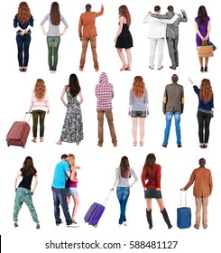 """Collection """" Back view people """".  Rear view people set.  backside view of person.  Isolated over white background."""