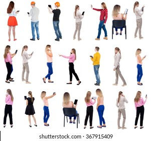 """Collection """" Back view people use smartphones and tablets. """".  Rear view people set.  backside view of person.  Isolated over white background"""