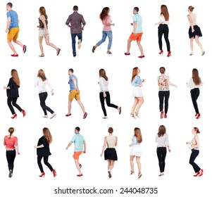 "collection "" back view of running people "". walking people in motion set.  backside view of person.  Rear view people collection. Isolated over white background."