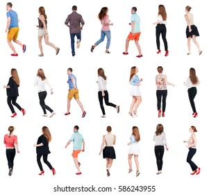 collection back view of running people . walking people in motion set. backside view of person. Rear view people collection. Isolated over white background.