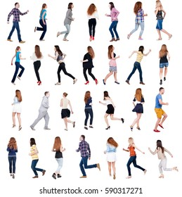 """collection """" back view of running people """". walking people in motion set.  backside view of person.  Rear view people collection. Isolated over white background."""