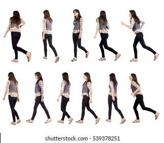 """Collection """" back view of running woman """". walking girl in motion. Rear view people set.  backside view of person. Isolated over white background."""