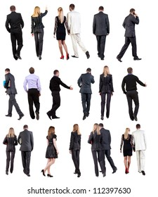 "Collection "" Back view of walking  business people "". going woman and man in suit. Rear view people set.  backside view of person.  Isolated over white background."