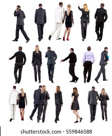 """Collection """" Back view of walking  business people """". going woman and man in suit. Rear view people set.  backside view of person.  Isolated over white background."""