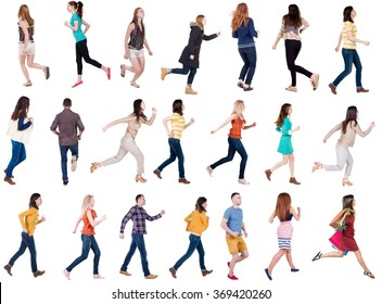 "collection "" back view of walking people "". running people in motion set.  backside view of person.  Rear view people collection. Isolated over white background."