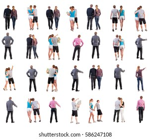 collection back view of walking people . going people in motion set. backside view of person. Rear view people collection. Isolated over white background.