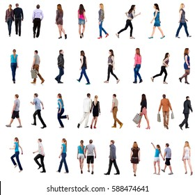 """collection """" back view of walking people """". going people in motion set.  backside view of person.  Rear view people collection. Isolated over white background."""