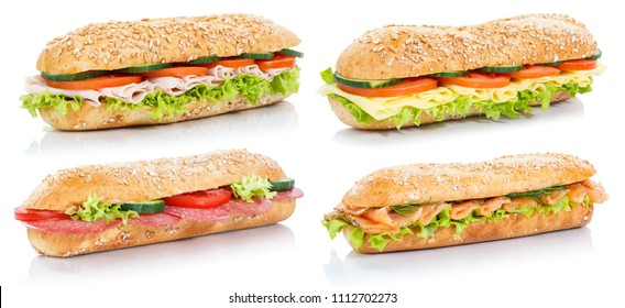 Collection of baguette sub sandwiches with salami ham cheese salmon fish whole grains fresh isolated on a white background