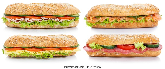 Collection of baguettes with salami ham cheese salmon fish lateral isolated on a white background