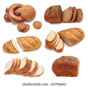 collection of baked bread isolated on white