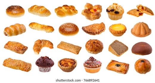 collection of bakery on white background