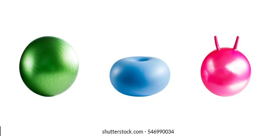 Collection of balls for fitness isolated on white background