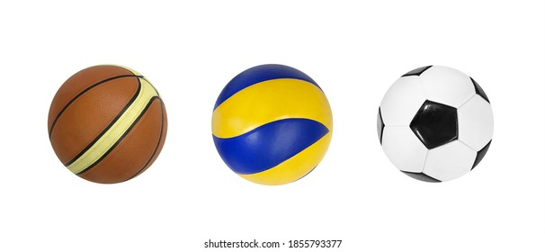 Collection of balls isolated on white background white clipping mask.