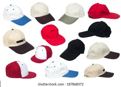 Collection of baseball caps isolated on a white background.