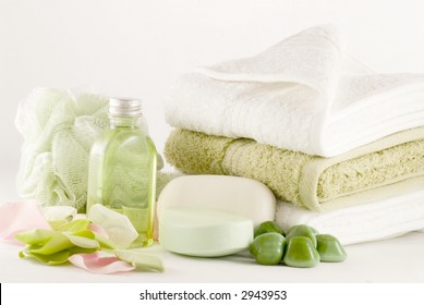 Collection of bath, spa, shower and beauty products ready for use