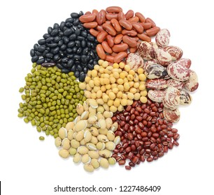 Collection of beans isolated on white background