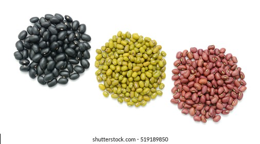 Collection of beans isolated on white