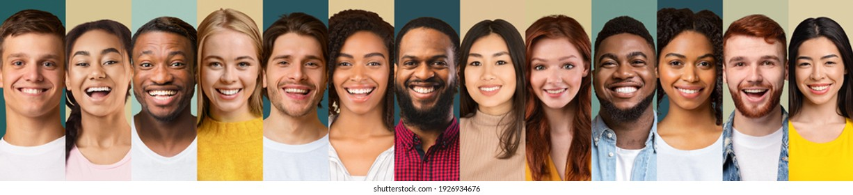 Collection Of Beautiful Young People Portraits In A Row Collage On Different Backgrounds. Millennial Generation Group Portrait With Smiling Faces. Diverse Headshots Set, Panorama