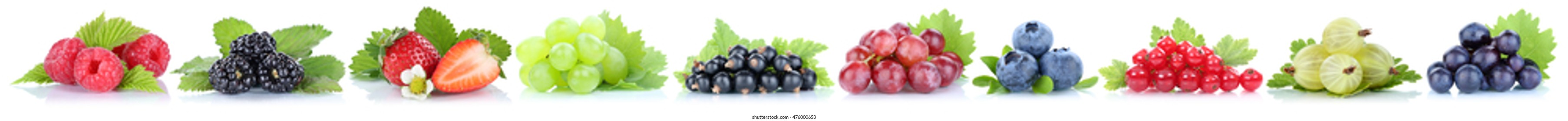 Collection of berries grapes strawberries blueberries berry organic fruits in a row isolated