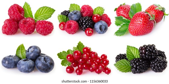 collection of berries isolated on white background