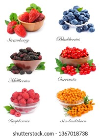 Collection of berries isolated on white backgrounds.