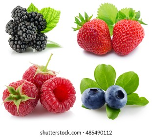 collection of berries isolated on the white background