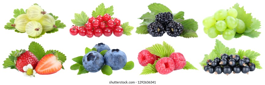 Collection of berries strawberries blueberries grapes fruits fruit isolated on a white background