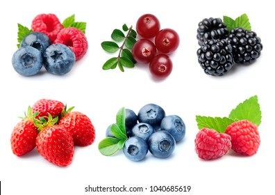 Collection of berry on white backgrounds.