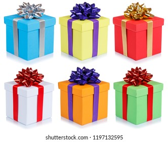 Collection of birthday gifts christmas presents boxes isolated on a white background