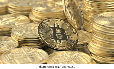 Collection of Bitcoins 3D Rendering