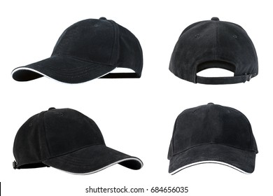 Collection of black baseball caps isolated on white background, concepts of beauty, fashion and sport object.