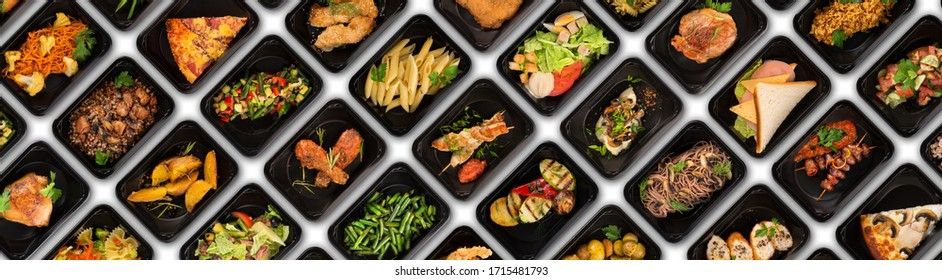 Collection of black plastic take away boxes with healthy food. Set of containers with everyday meals - meat, vegetables and law fat snacks on black background
