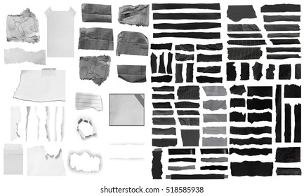collection of  black and white paper, copy space