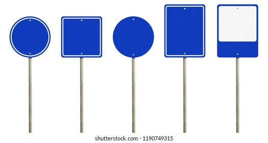 Collection of blank blue road sign or Empty traffic signs isolated on white background. Objects clipping path