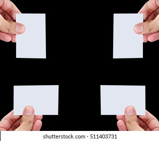 Collection of blank business card, gift card, pass, ticket, ID card, note, paper being held in many directions isolated on black background.  Copy space. Ready for adding card detail and back scene.