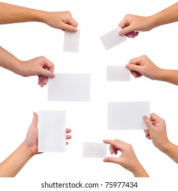 Collection of blank cards in a hand isolated on white