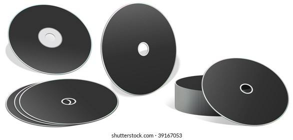 A collection of blank cd rom with different orientation isolated on white background.