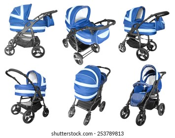 collection of blue baby strollers isolated on white background